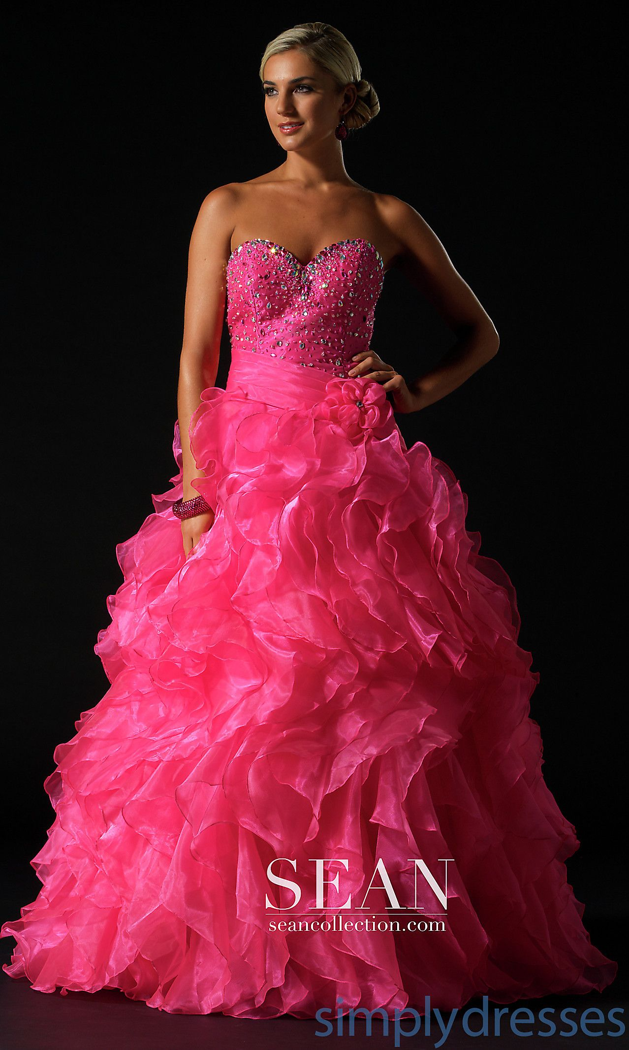Dress, Long Strapless Ruffled Ball Gown - Simply Dresses ...