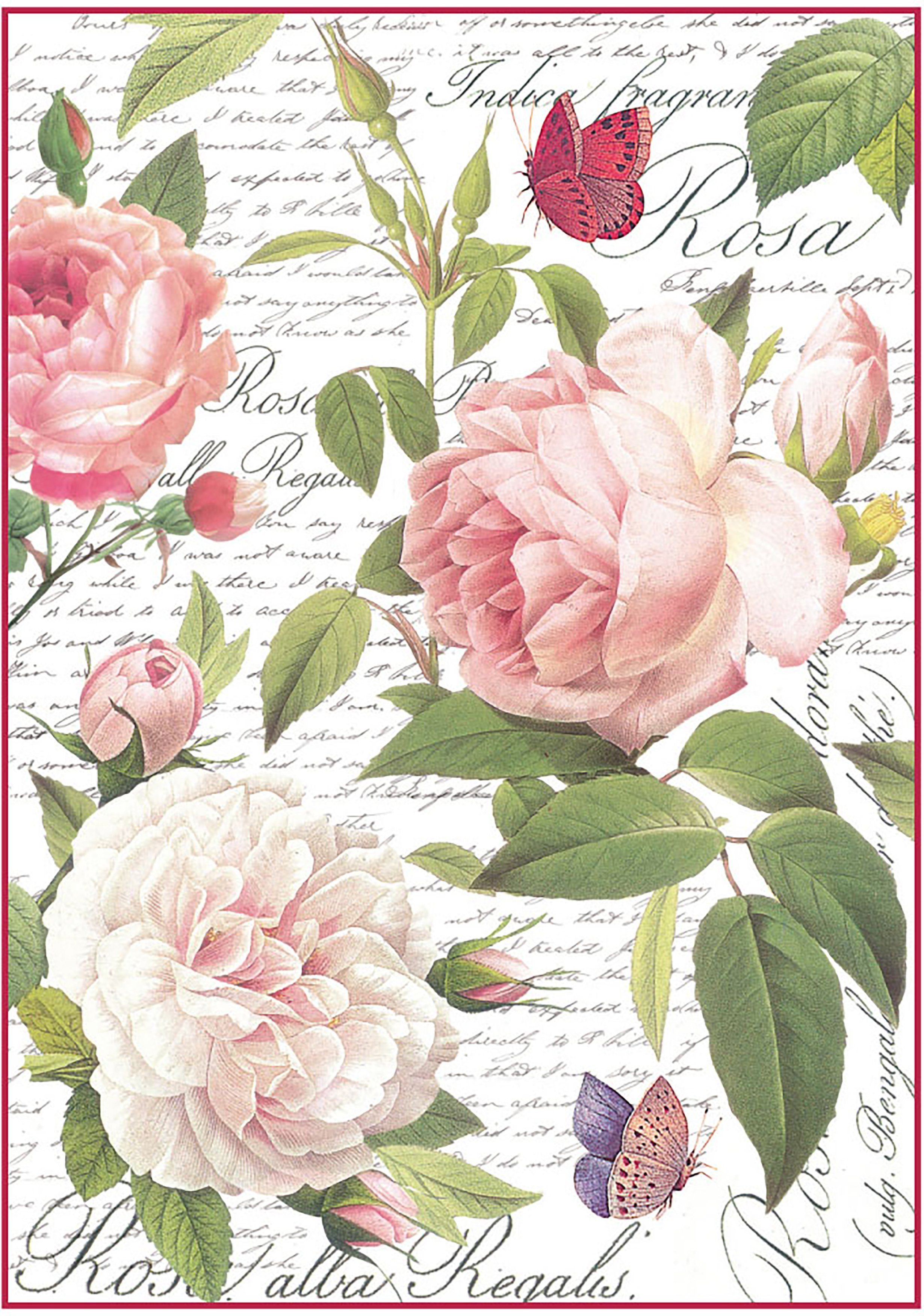 for Decoupage Rice Paper Scrapbooking Roses Frame Sheet A4