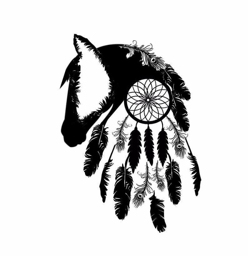 Tattoo Art Black And White: Horse Silhouette & Dream Catcher Tattoo Outline Black