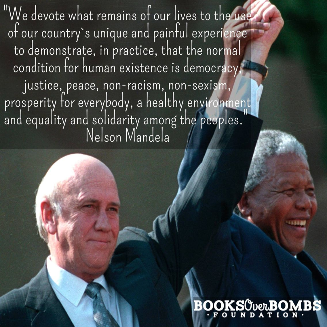 21 years ago today, Mandela and De Klerk were awarded the Nobel Peace Prize #BooksOverBombs
