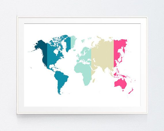 Multicolor World Map Art Blue Navy Wall Art by SutilDesigns