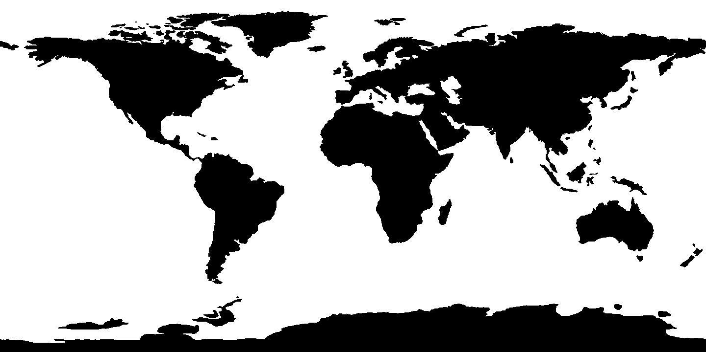 Black & white world map World map wall decal, World map