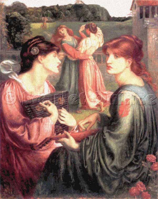 Scarlet Quince cross stitch chart: The Bower Meadow - Dante Gabriel ...