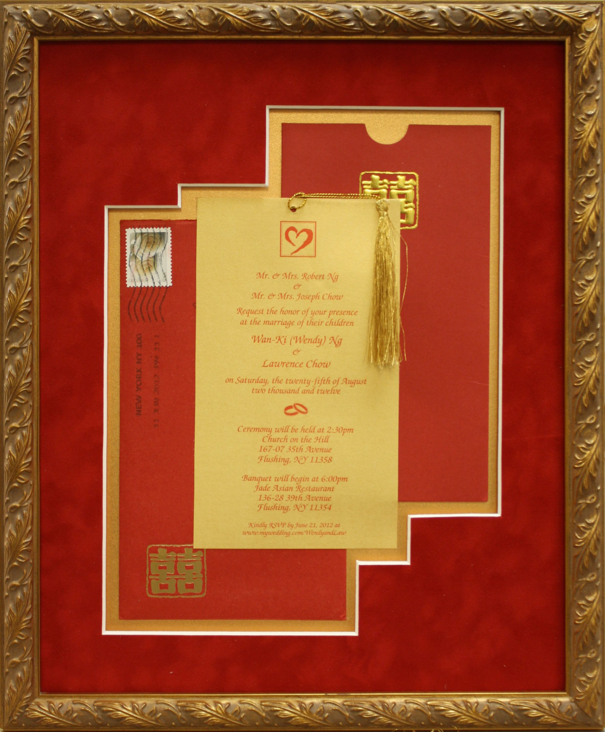 Wedding invitation framed in Chinese red suede mat board and 24k ...