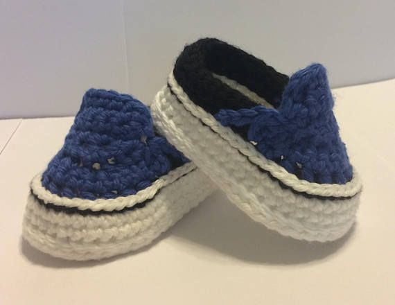 24440c96606f Crocheted Vans Style Baby Shoes - Crochet Vans - Baby Vans - Crochet  Sneakers - Baby