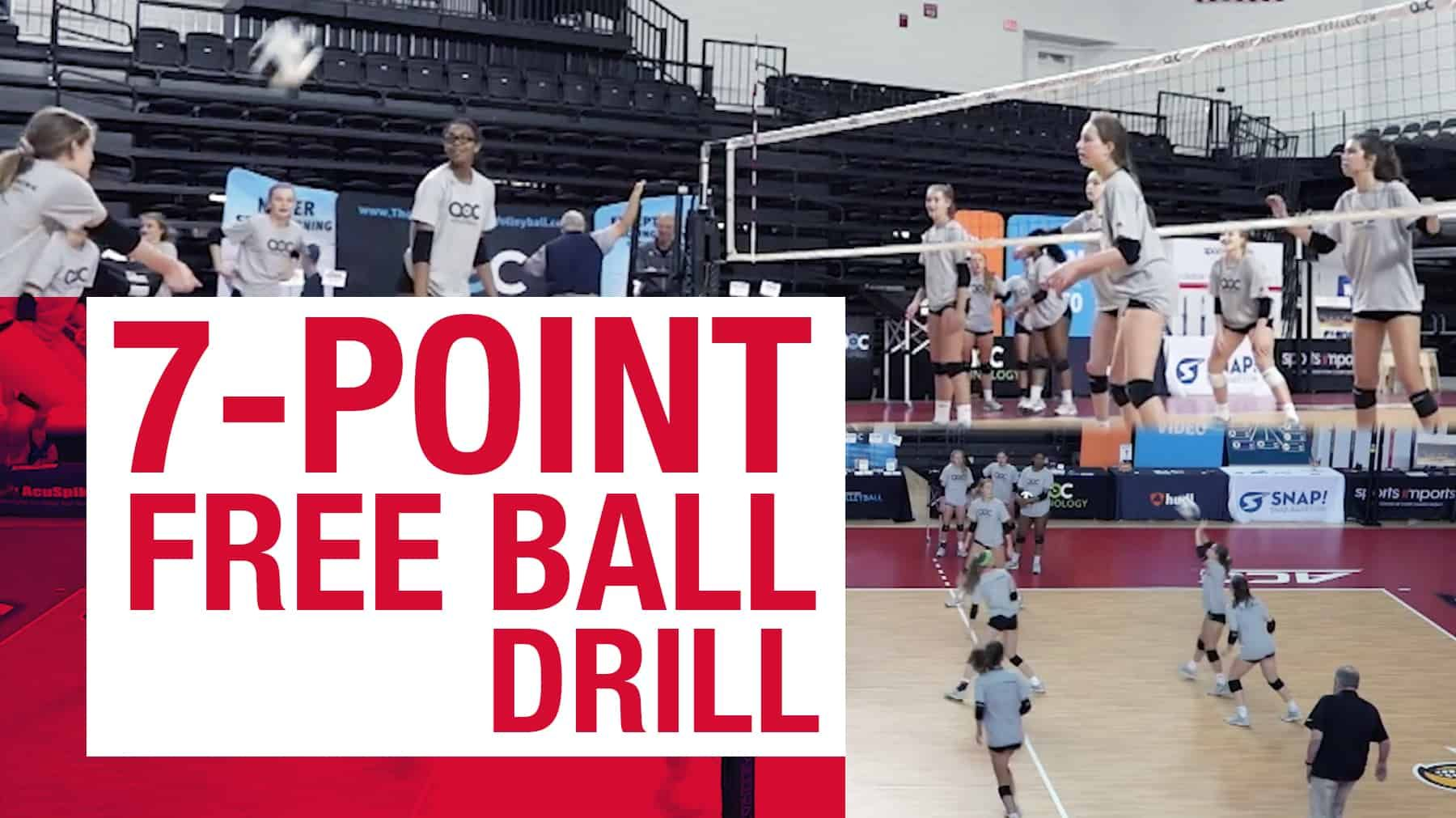7 Point Free Ball Drill The Art Of Coaching Volleyball Coaching Volleyball Volleyball Drills Volleyball Skills