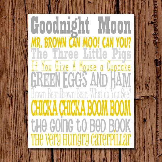 Classic Book Titles Nursery Wall Art Yellow by pickledoodledesigns ...