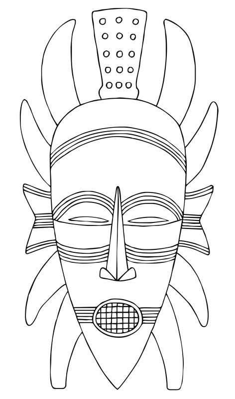 african mask template coloring for kids