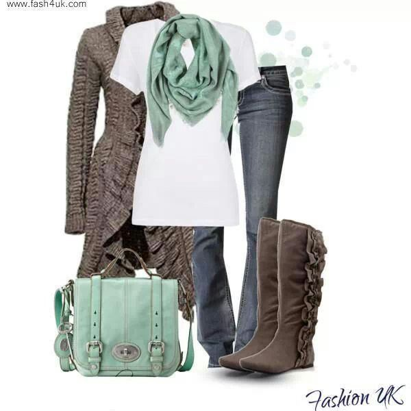 Adorable winter outfit comfy cozy ruffles boots sweater jeans mint grays scarf like this A LOT
