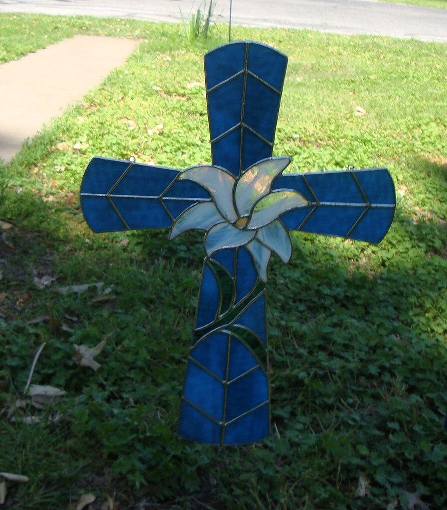 suncatcher window decoration Stained Glass Handmade peace lily cross
