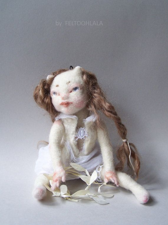 OOAK small pixie art doll Blanche by feltoohlala on Etsy