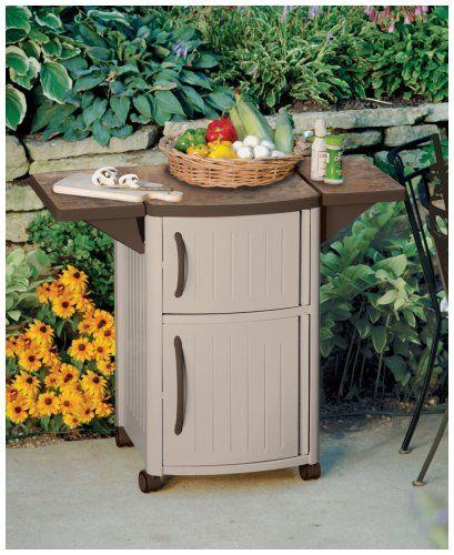 Amazon Com Suncast Outdoor Grilling Prep Station Portable Outdoor Bbq Entertainment Storage Table Prep Station Patio Cabinet Patio Storage Suncast Patio