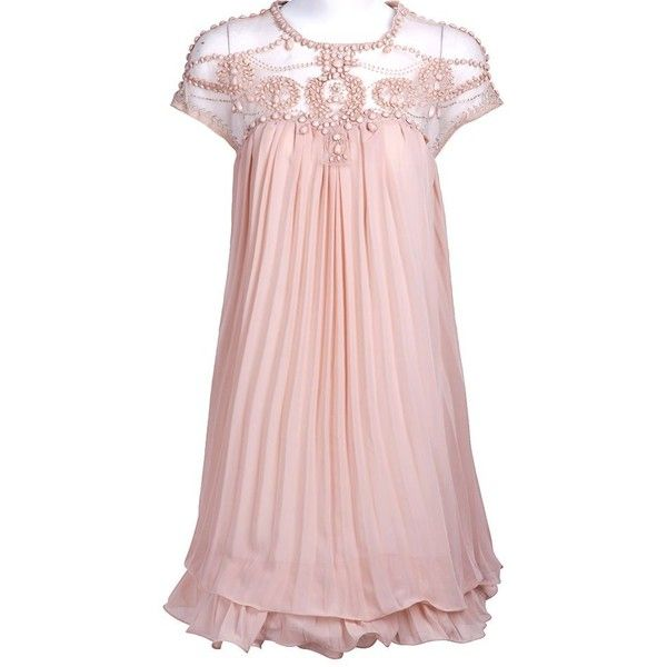 Light Pink Short Sleeve Lace Pleated Chiffon Dress loveeeeee ❤ liked on Polyvore featuring dresses, light pink short sleeve dress, chiffon dress, light pink chiffon dress, pleated chiffon dress and short sleeve dress