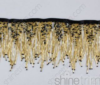 Metal Coin /& Beaded Fringe 3 Long in Gold