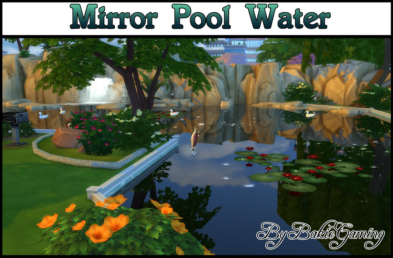 Mirror pool water for making awesome looking custom ponds for Pool design sims 4