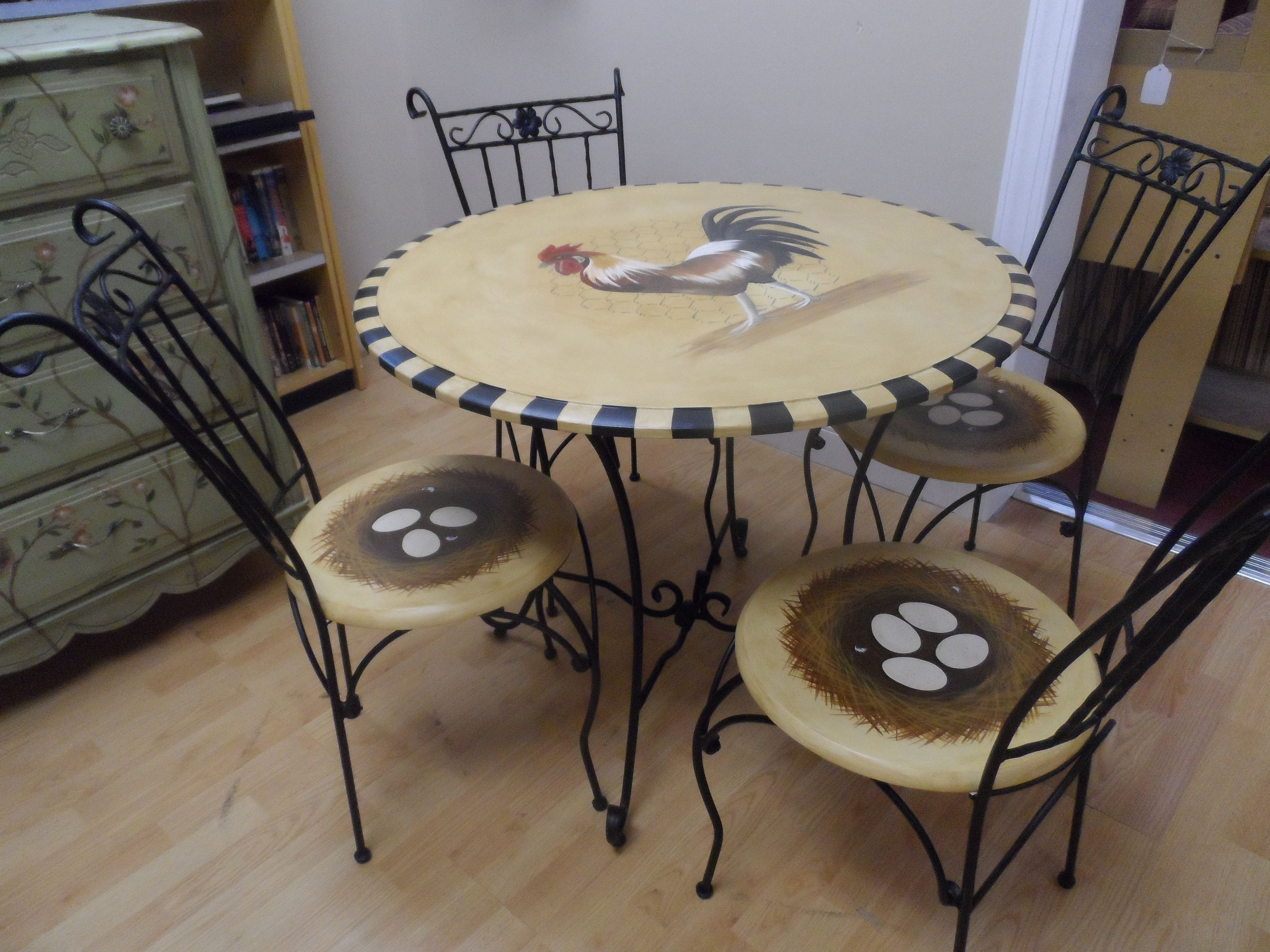 Wonderful French Country Rooster Table With Nest Chairs  My Most Popular Design For  Customers