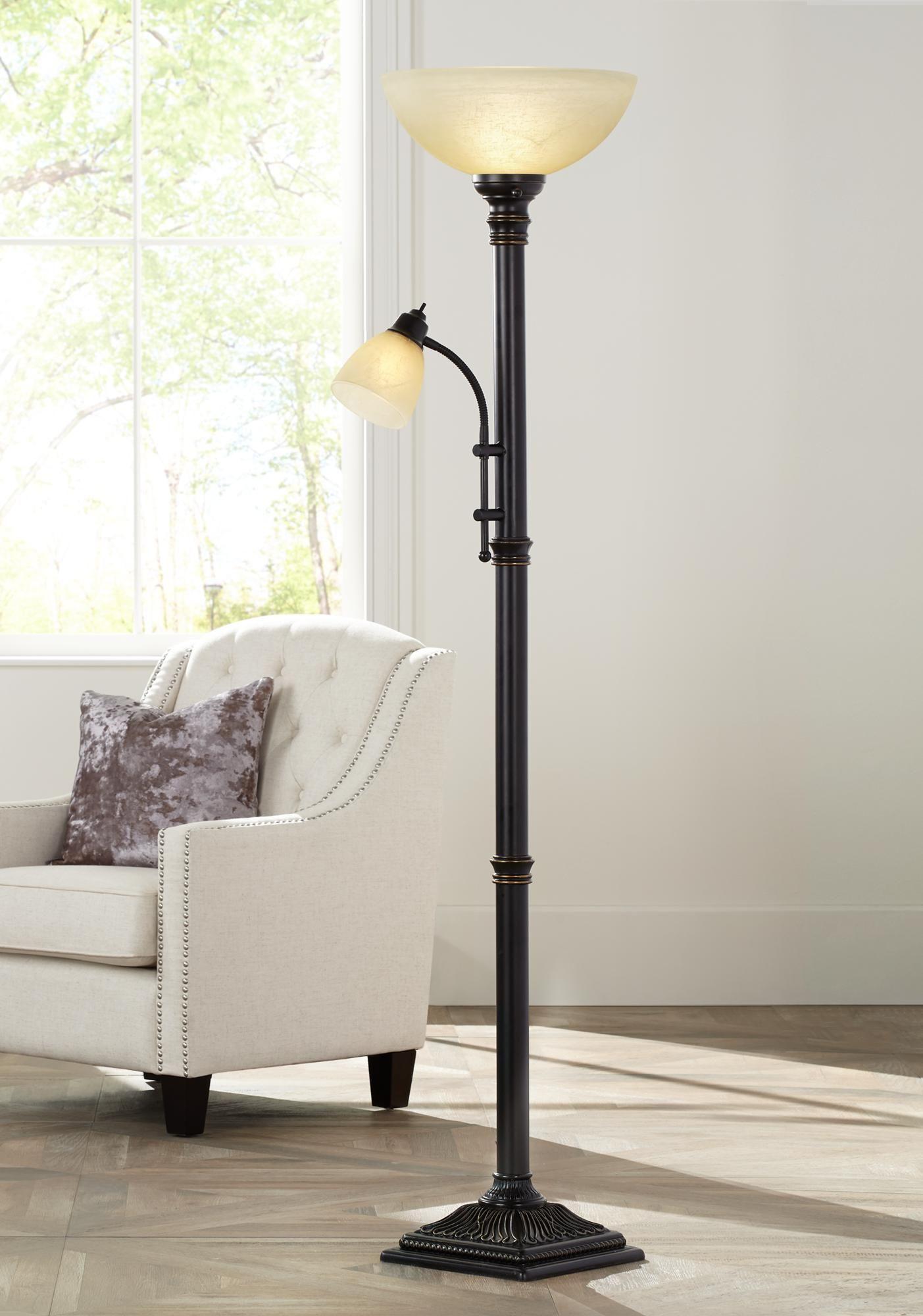 Garver Bronze Torchiere Floor Lamp With Reader Arm 8c397 Lamps Plus Torchiere Floor Lamp Floor Lamp Floor Lamp With Shelves