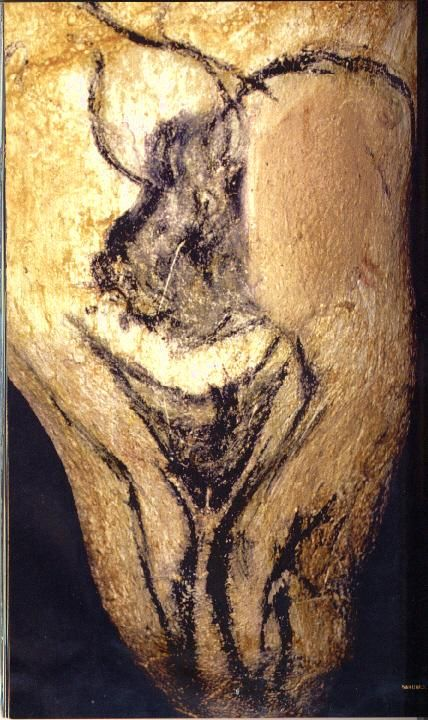 Hombre-bisonte abrazando las piernas de una mujer.Cueva de Chauvet