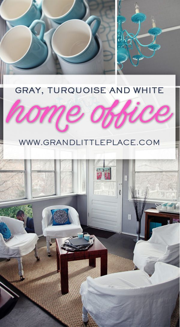 Gray turquoise aqua white home wedding photography office homeoffice sunroom greyoffice meetingspace also using  sun room as for client meetings diy  rh br pinterest