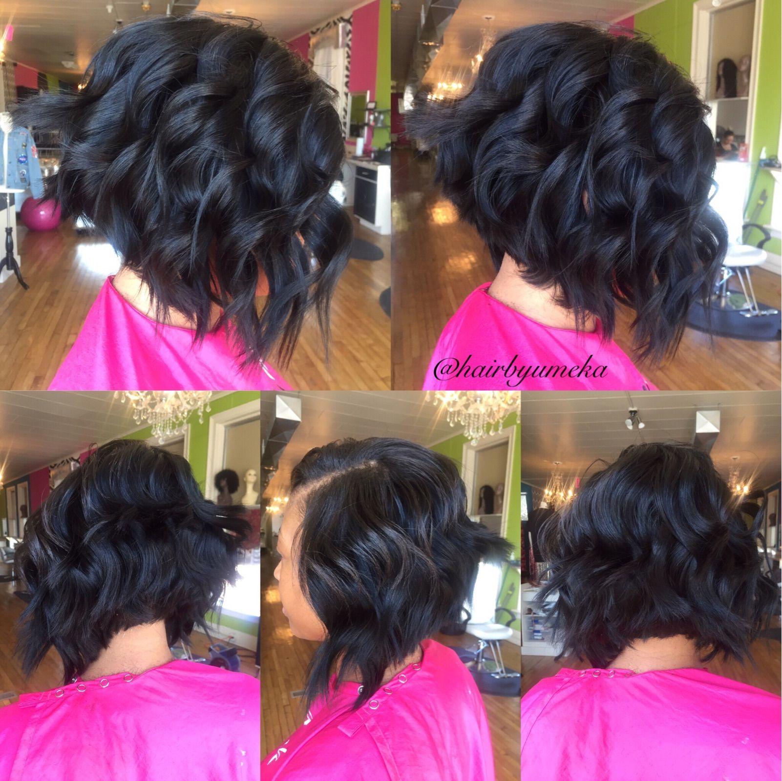 Quick Weave Bob With Beach Waves Hairbyumeka Quick Weave Bob Bob Weave Curly Hair Styles