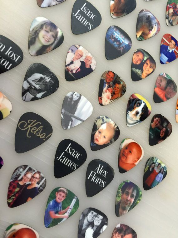 custom guitar pick personalized photo keepsake gift for him dad fathers day guitar gift idea. Black Bedroom Furniture Sets. Home Design Ideas