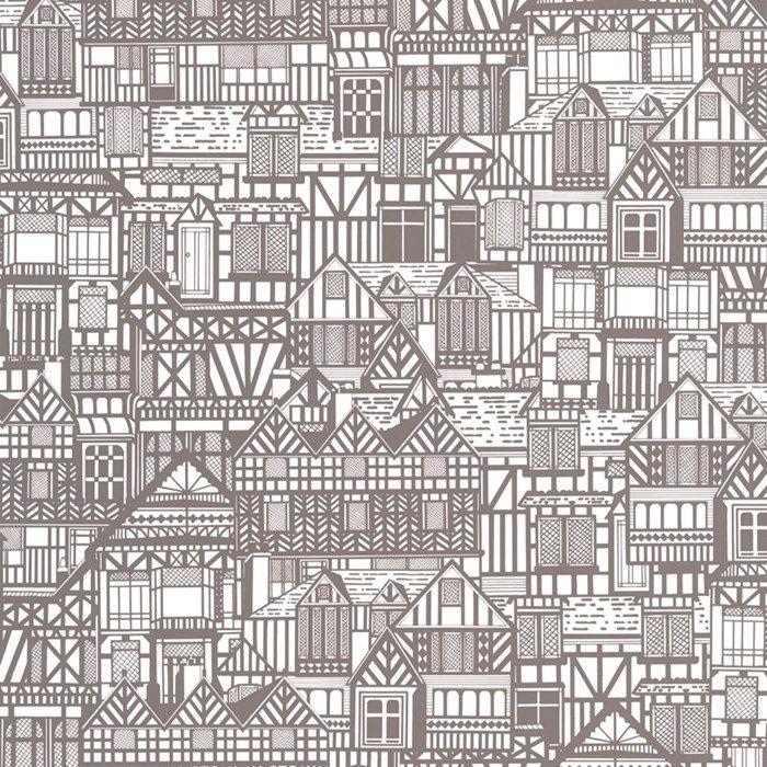Tudor Houses Graphic Wallpaper Modern Designer Wall