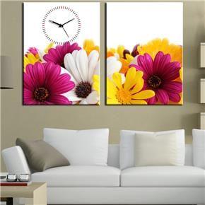 rengarenk-cicekli-2-parcali-saatli-canvas-tablo