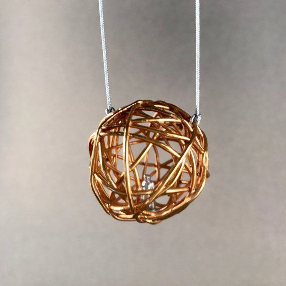 Small soul cage pendant electroformed jewelry 24 carat goldplated    Small soul cage pendant electroformed jewelry 24 carat goldplated   Small soul cage pendan
