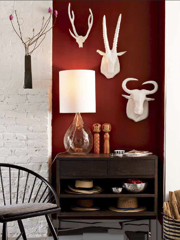 This Deep Red Accent Walls Perfectly Offsets The Faux Taxidermy - Deep red accent wall