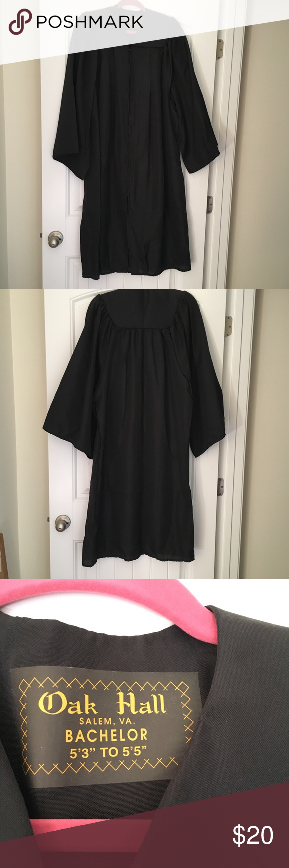 """Black Graduation Gown - height 5\'3"""" - 5\'5"""" 