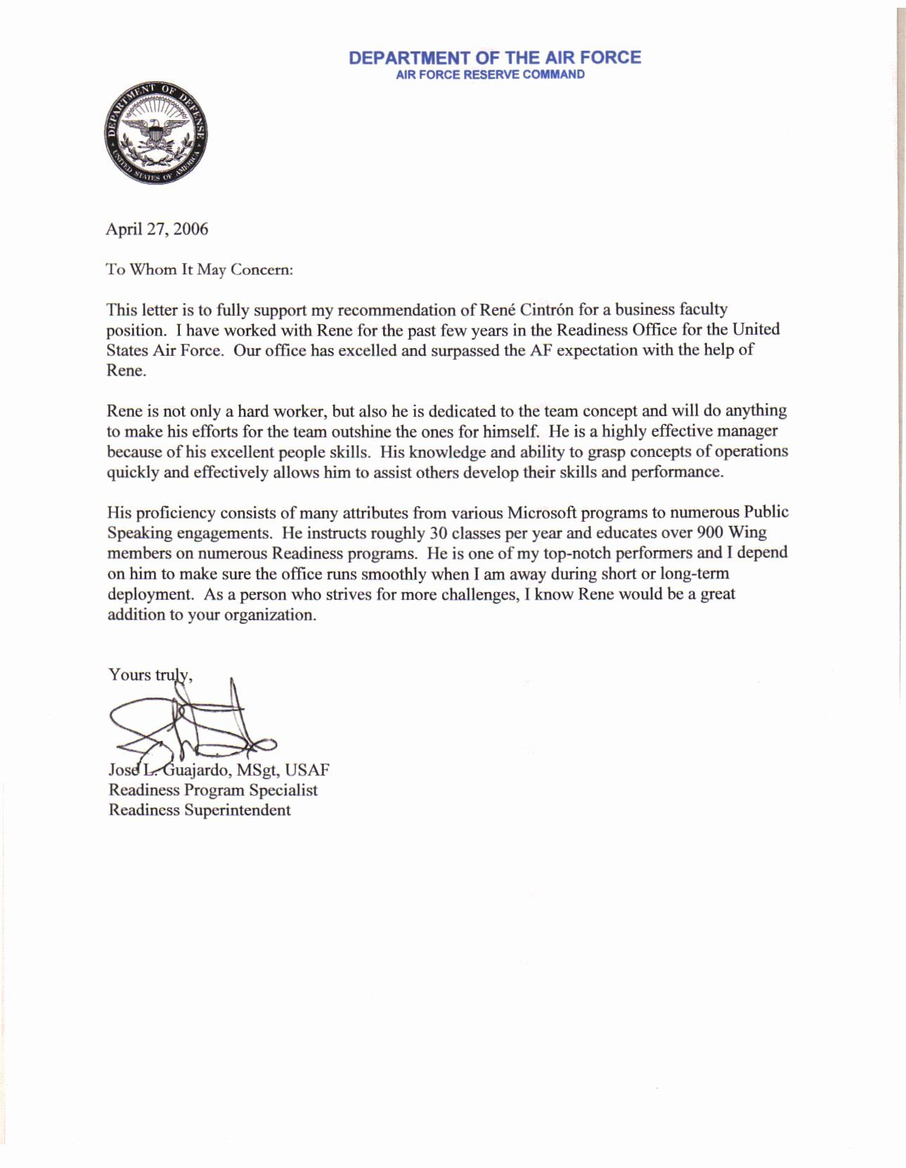 Air force letter of beautiful air force