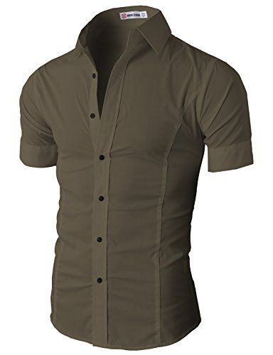 H2h mens wrinkle free slim fit button down short sleeve for Wrinkle free button down shirts
