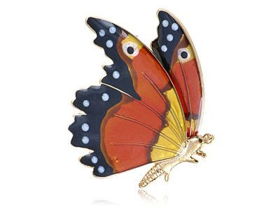 Swarovski Crystal Elements Orange Mamercus Species Butterfly Brooch