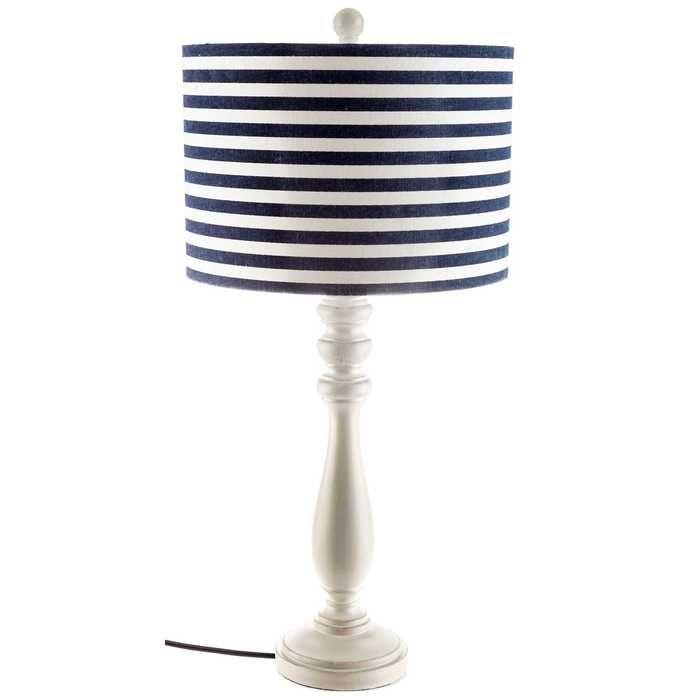 White lamp with blue white striped shade white lampsboy roomshobby lobbynautical