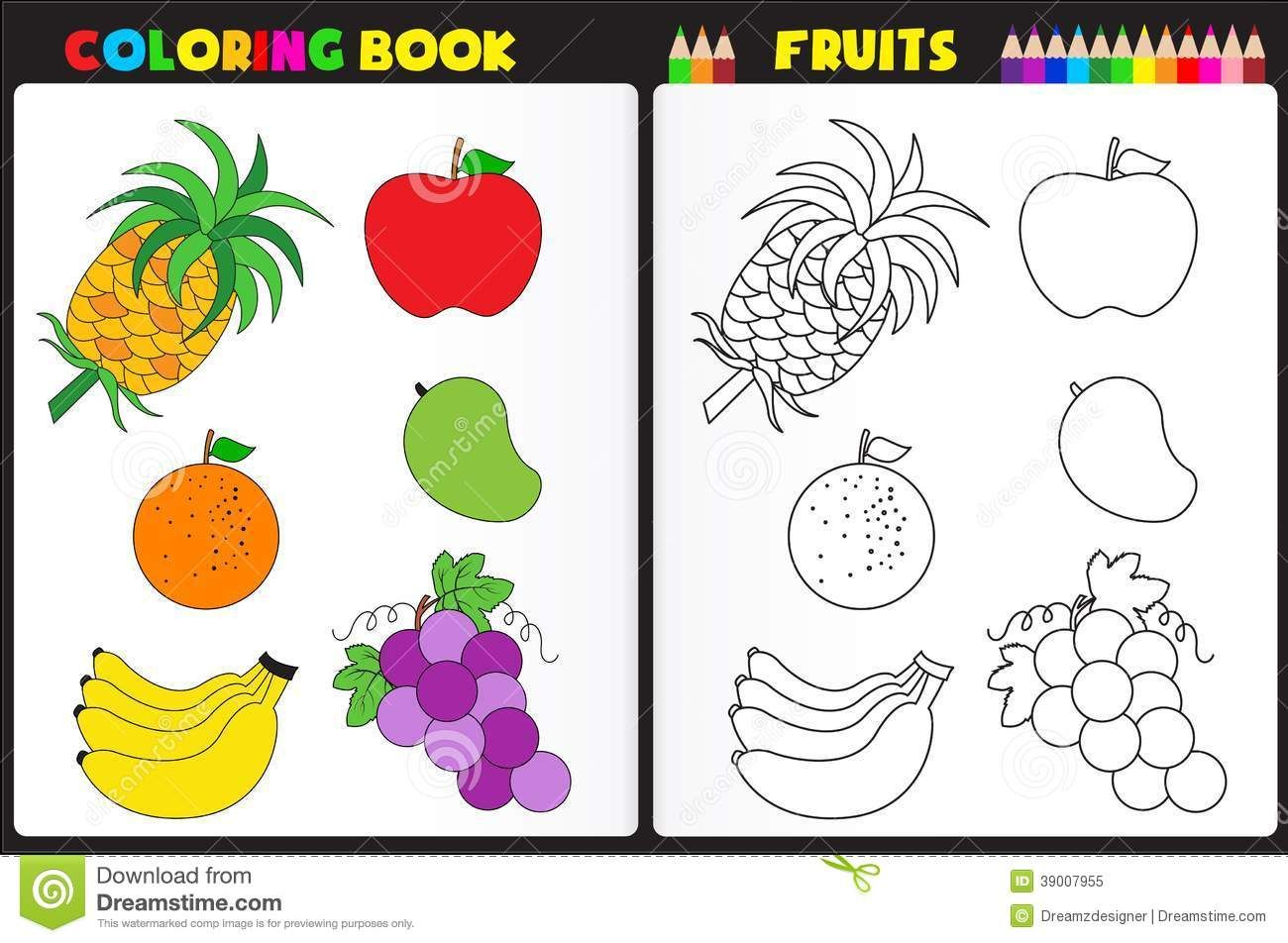 coloring book page fruits nature kids colorful sketches - Kids Color Book