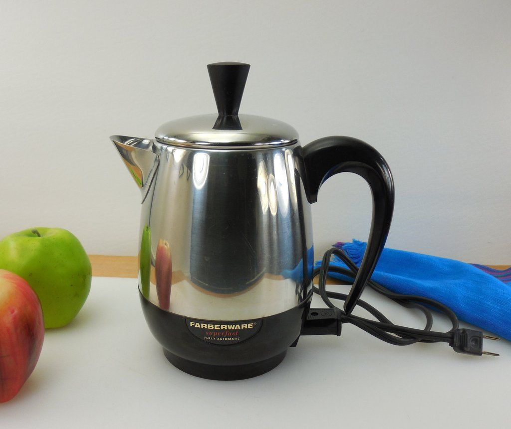 Stainless Steel Stovetop Coffee Percolator Made In Usa Farberware Ny Vine 4 Cup Pot Model 134b