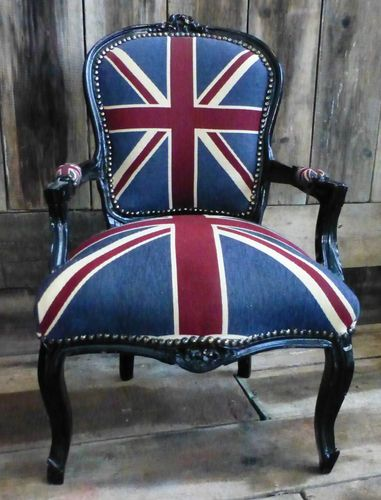 Old Charm French Louis Style Shabby Chic Union Jack Chair | eBay Neat chair, could make this work some place!!