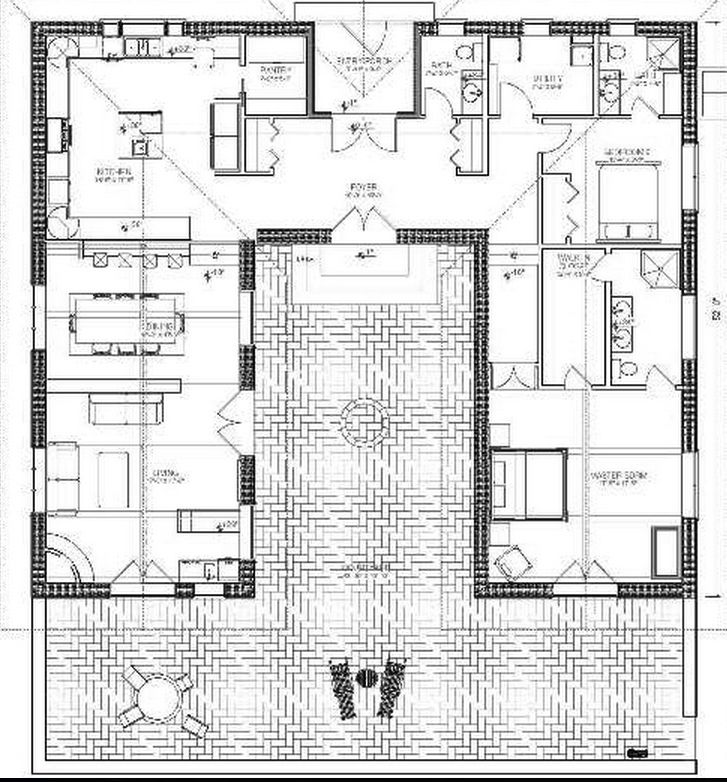 Bale Hacienda Straw Bale Plans I Like The Layout Of This House Even If It Was Constructed From Tradi Hacienda Style Homes Courtyard House Plans House Plans
