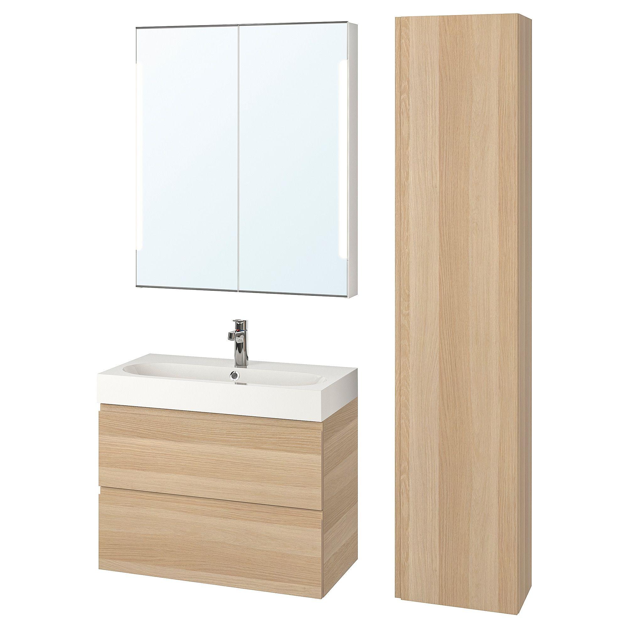 Godmorgon Braviken Badeinrichtung 5 Tlg Eicheneff Wlas Brogrund Mischbatterie Ikea Osterreich Bad Einrichten Ikea Godmorgon Ikea Einkaufen