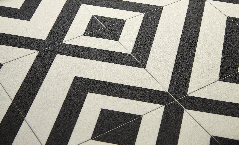 Sol vinyle BUBBLEGUM, carreau ciment motif géométrique noir ...