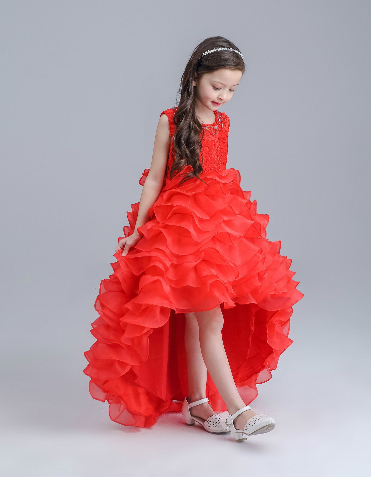 Red ittle bridesmaid dress pictures of wedding essentials new red tailed girls dress princess wedding party flower children bridesmaid vestidos ropa infantil girl 2016 kids clothes ombrellifo Gallery