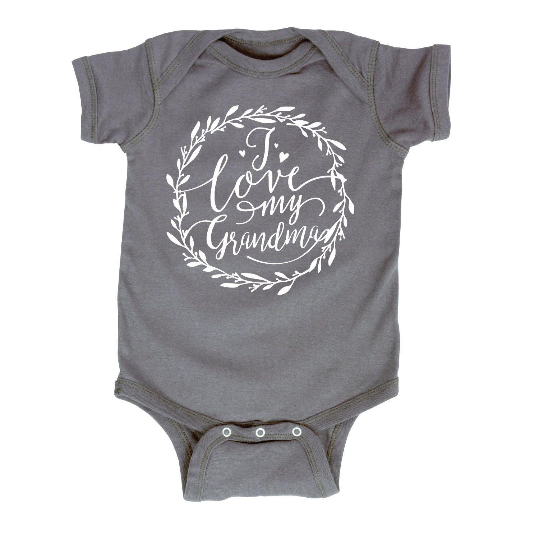 I Love My Grandma Script Floral Wreath Infant Bodysuit