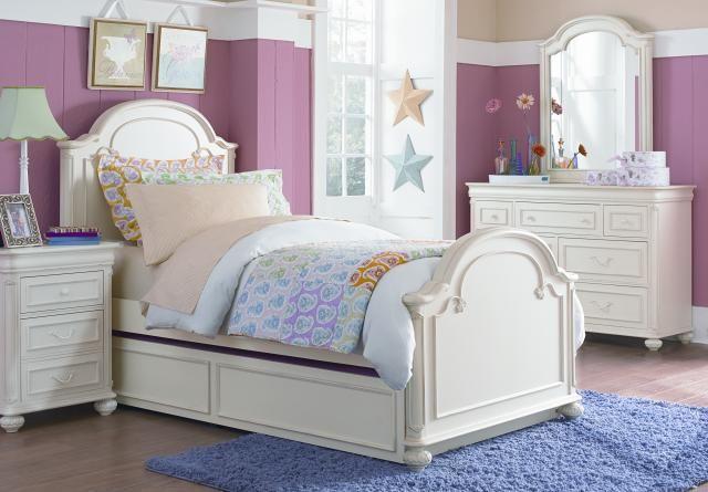 Charlotte Antique White 4pc Kids Bedroom Set w/Full Panel Bed Love