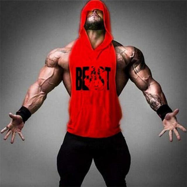 Men Gym Clothing Bodybuilding Stringer Hoodie Tank Top Muscle hooded Shirt