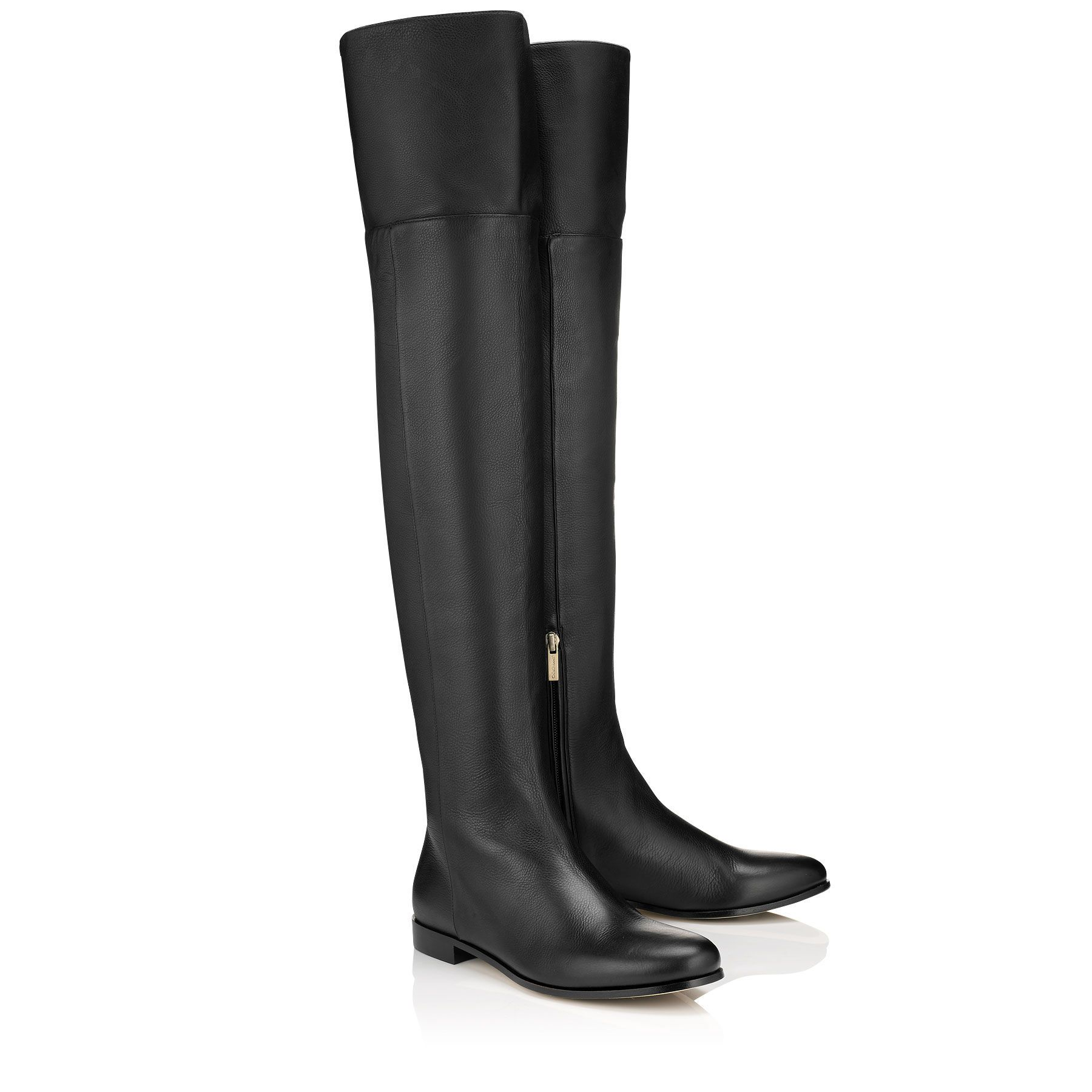 Jimmy Choo | Mitty Flat Over-the-knee black leather boots | Shoes ...