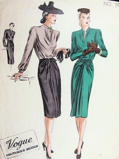 1940 Prachtige 2 Pc Jurk Met Godet Rok VOGUE COUTURIER DESIGN 394 Mooie dag of avond Style Bust 34 Uitstekende Naaiende Patroon