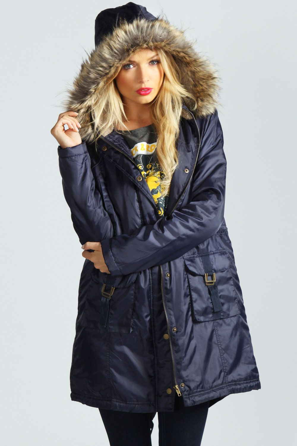 Roxanna Sherpa Hooded Faux Fur Trim Hood Parka at boohoo.com ...