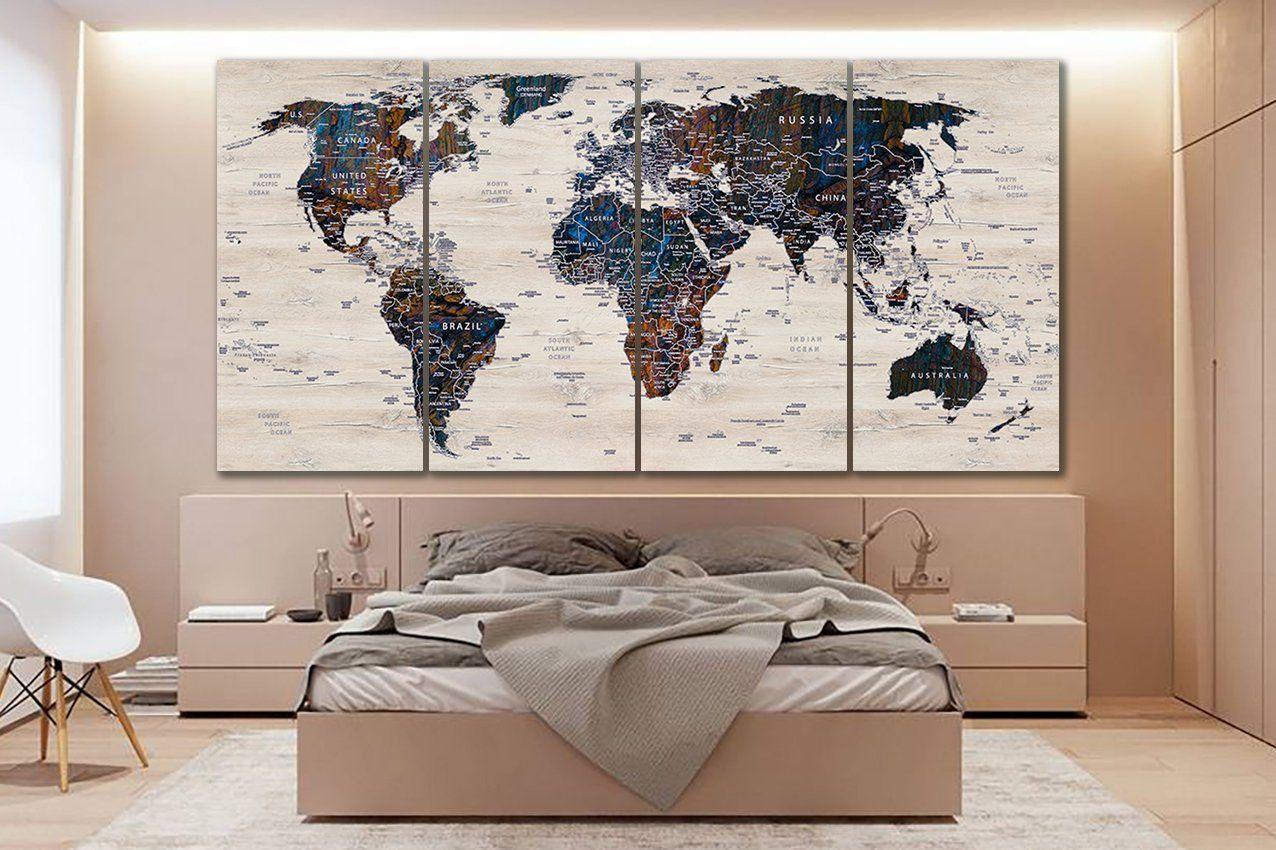 Watercolor World Map Gray Wall Decal World Map Wall Decor Color World Map Map Wall Decal