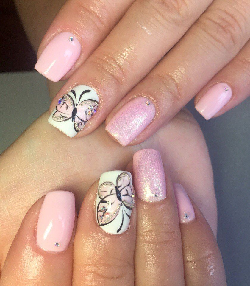 Butterfly Nail Design | nails | Pinterest | Nageldesign, Fingernägel ...