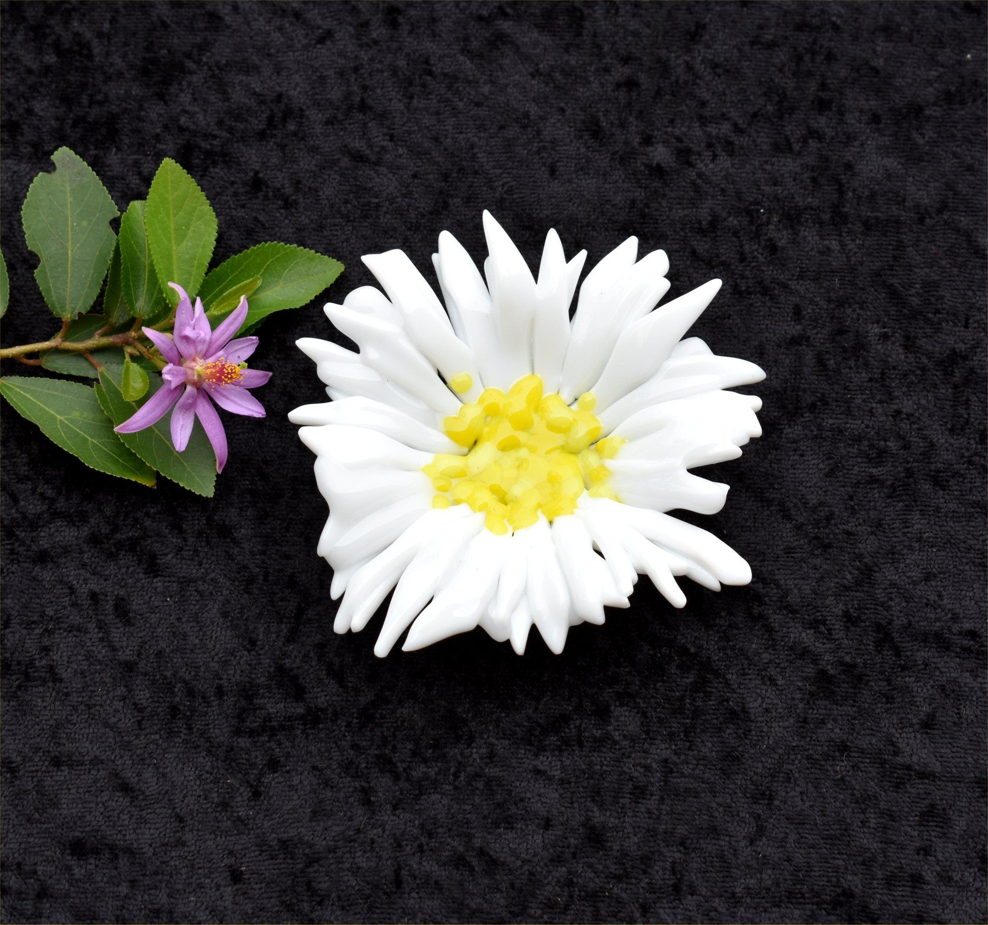 Fused Glass Daisy Dish Small White Petals Yellow Middle My Shop